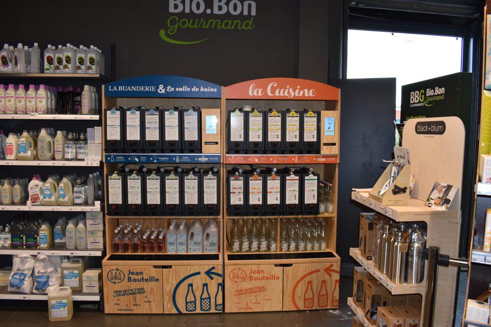 Rayon vrac liquide Jean Bouteille dans le magasin bio BBG près de Lille