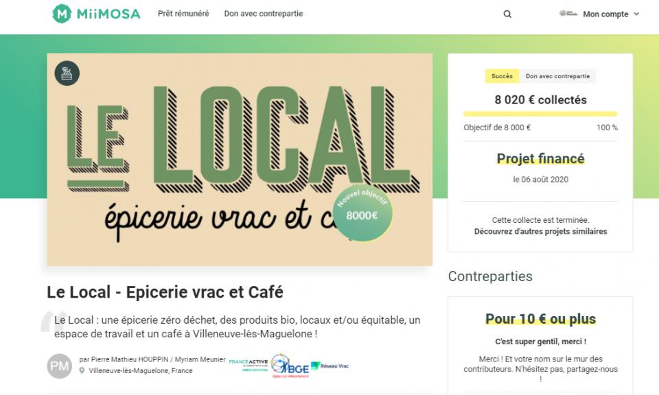 Campagne de crowdfunding sur MiiMOSA pour les porteurs de projet vrac