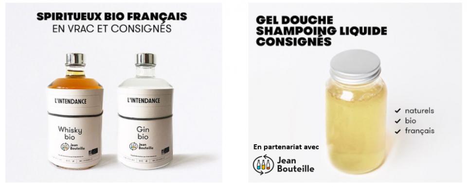 Une nouvelle gamme de spiritueux bio en vrac et gels douches en vrac Jean Bouteille sur l'intendance
