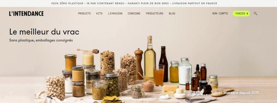 L'intendance Magasin bio en ligne. Produits alimentaires, cosmétiques et d'entretien en vrac et contenants consignés